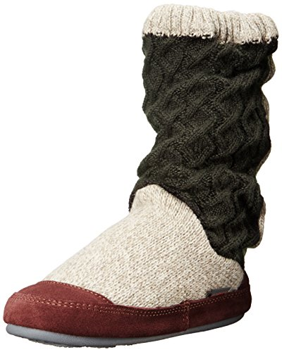 Acorn womens Slouch Boot slippers, Charcoal Cable Knit, Medium US