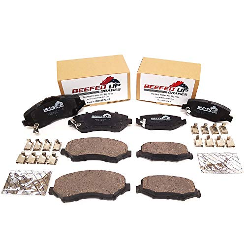 Beefed Up Brakes Premium Trail Rated Front & Rear Ceramic Brake Pad Kit w/hardware and grease Compatible with 2007 - 2018 Jeep Wrangler JK/JKU