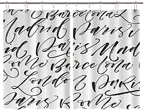 JISMUCI Cortinas para Cocina París Madrid Barcelona Roma Londres Modern Ink Calligraphy Art Cortinas de Ventana Ganchos de Metal Juego de 2 Paneles para decoración de café de casa 140x100CM