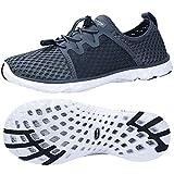 ALEADER Womens Aqua Water Shoes, Summer Beach Sneakers for Swim, Pool, Backpacker Dark Grey/White 8 B(M) US