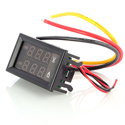 Neuftech Mini Digital Voltmeter DC 100V 10A Amperemeter Panel Meter Spannungsanzeige Messer - Blue+Red Dual LCD Display