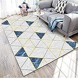 WQ-BBB El Juego Diseño geométrico Alfombra Salon sin Pelo Gris Azul Amarillo alfombraspara Mesa Salon Pasillo jarapas 160X200cm