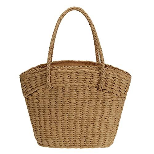 So'each Bolso de las mujeres de mimbre tejido de mimbre de la paja del bolso de la cesta, color Marrón, talla Medium