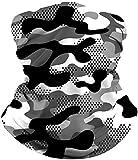 ALISISTER Multifunktionstuch Nahtloses Halstuch Schlauchtuch Schal 3D Schwarz und Weiß Tarnung Druck Kopftuch Stirnband Motorrad Outdoor UV Staubschutz Halbes Bandana