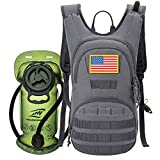 SHARKMOUTH Hydration Pack, Tactical Molle Hydration Pack Backpack 900D with 2L BPA Free Hydration Water Bladder, Military Daypack for Running, Hiking, Cycling, Climbing, Hunting &Working Out, Gray