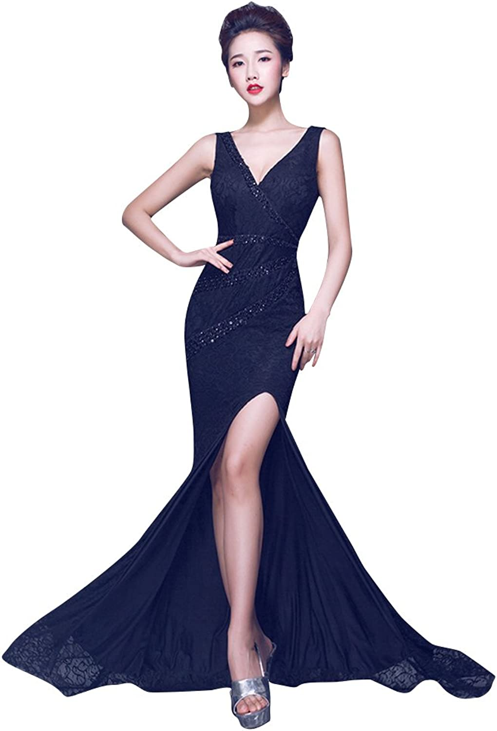 BeautyEmily Open Side Bodycon Lace Backless VNeck Evening Dress
