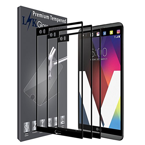 [3 Pack] LK Screen Protector for LG V20, [Full Cover] Tempered Glass 9H Hardness, Anti Scratch (Black)
