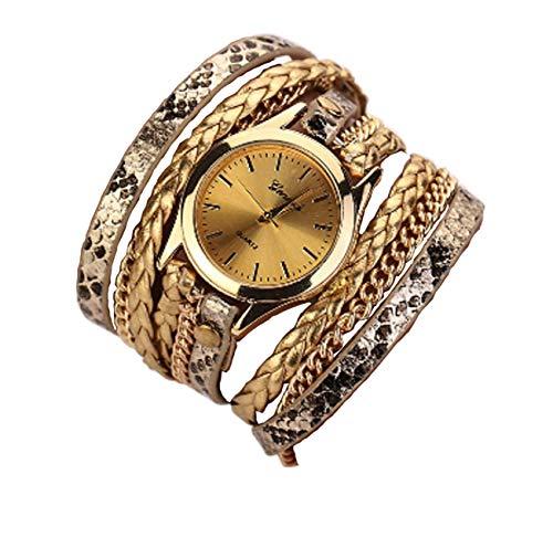 Ledhill Geneva Leopard Fashion Golden Chain Woven Strap Bangle Wrist Watch (Gold)