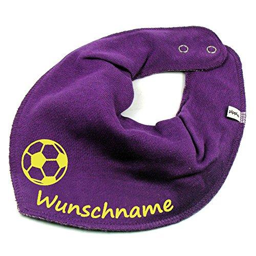 Elefantasie Elefantasie HALSTUCH Fußball mit Namen oder Text personalisiert lila für Baby oder Kind