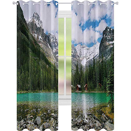 High-Strength Blackout Curtains, Canada Ohara Lake Yoho National Park with Mountains Nature Scenery Art Photo, W52 x L108 for Bedroom, Kindergarten, Living Room, Multicolor