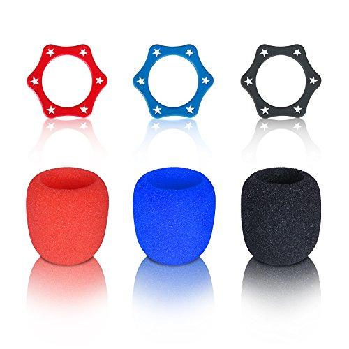 Mikrofonabdeckung, Typ Schaumstoff-Ball, Zubehör, Mikrofon-Windschutz, Anti-Roll-Mikrofon-Schutz für KTV-Geräte, Farbe: Schwarz, Blau, Rot, 3 Sets 3 Sets