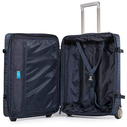 Piquadro Move 2 Trolley, Sintetico, Checkblu, 38 Litri, 55 cm