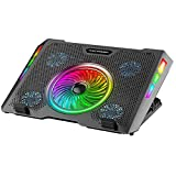 ICE COOREL Gaming Laptop Cooling Pad, RGB Laptop Cooler Pad 15-17.3', Laptop Cooling Stand with 5 Quiet Fans and 5 Height Adjustable, Cooling Fan for Laptop Two USB Ports, The Wind Speed Adjustable