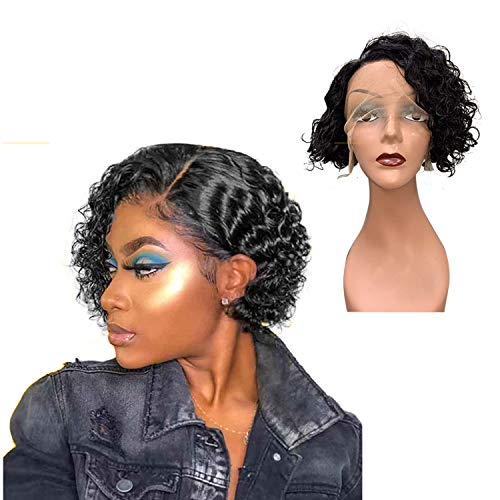 Short Curly Bob Wigs Human Hair Side Part Lace Wigs Human Hair 150% Density Wet And Wavy Wig Natural Hairline Curly Brazilian Remy Hair Wigs for Black Women Natural Color (8 Inch )