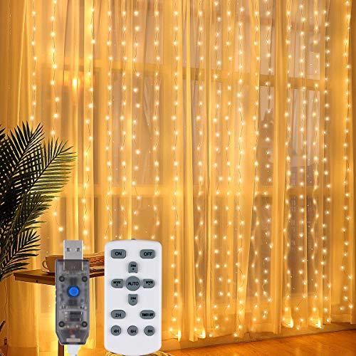 OYE HOYE Window Curtain Light 10Ft 300 LEDs Twinkle Fairy String Lights Warm White Backdrop Window Lights with Remote Controller 8 Modes for Christmas Wedding Party Wall Decoration