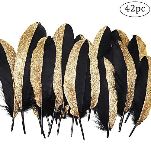 Coucoland Party Dekoration Federn 42 Stück Gold/Silber 1920s Gatsby Deko Geburtstagsparty Deko Kinder Bastelarbeit Halloween Fasching Kostüm Accessoires (Schwarz Gold)