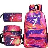 ZEH Cristiano Ronaldo CR7 Mochila 3pcs / Set de bolsas escolares para adolescentes estudiantes mochila casual de viaje 29 solo mochila FACAI (color 6, tamaño: 3 unidades)
