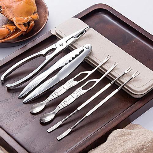 Marisco herramientas Conjunto Mariscos Herramienta Galletas juego de 6 piezas para agrietar las piernas y herramientas Crackers de marisco y tenedores para la tuerca con caja de almacenamiento