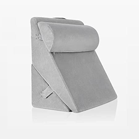 Grin Health 3pcs Orthopedic Bed Wedge Pillow Set - Adjustable Pillow Folding Body Positioners for Back for Legs and Back Support Pillow - Acid Reflux, (Grey, 22x22x12inch)