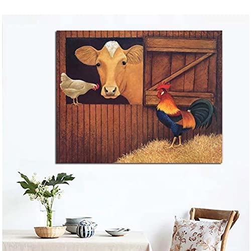 Moderne Lowell Herrero Kip Koe Foto Prints Home Decor Canvas Wall ArtVoor Woonkamer Poster 60×90 cm x1 Geen Frame