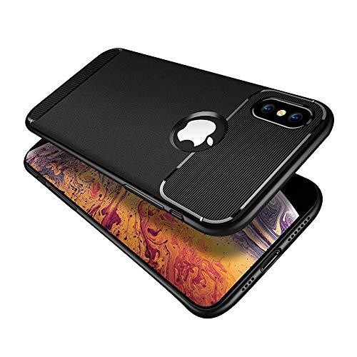 ZHYLIN telefoonhoesje iPhone 6 7 8 plus hoesje Anti Fall Cover Mode TPU telefoonhoesje voor iPhone X XR XS MAXMax schokbestendige achterkant krasbestendig mat telefoonhoesje, Achterzijde, iPhone6/6S, Zwart