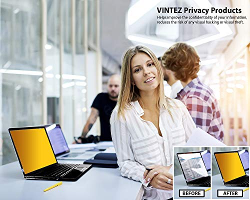 VINTEZ 15.6 Inch Gold High Clarity Computer Privacy Screen Filter for Widescreen Laptop - Notebook - Anti-Scratch Protector Film for Data confidentiality - 16:9 Aspect Ratio