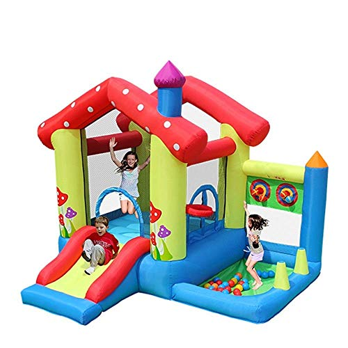 WRJY Castillo Hinchable para niños, Castillo Hinchable Inflable, casa de Puente, Agua para niños con tobogán de Agua y Bolas de Juguete, casa de Rebote Inflable