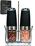 Gravity Electric Salt and Pepper Grinder Set - Electric Mills with Adjustable Coarseness - Automatic Salt and...
