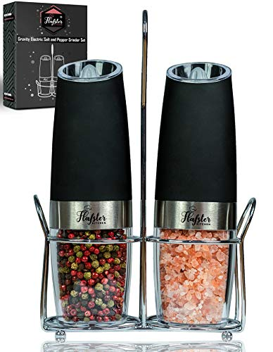 Gravity Electric Salt and Pepper Grinder Set - Electric Mills with Adjustable Coarseness - Automatic Salt and Pepper Grinders with White LED Light - Stainless Steel Battery Operated Grinders