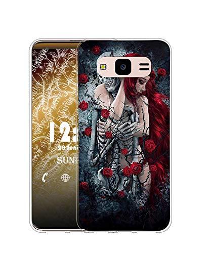 Sunrive Cover Compatibile con Samsung Galaxy Core Prime, Custodia Case in Molle Trasparente Silicone Morbida Flessibile AntiGraffio Protettiva Back custodie(Q Ragazza)