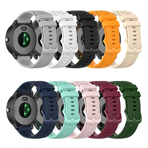 22mm Soft Colorful Silicone Watch Band Straps Compatible with Fossil Men's 44mm Gen 6/Gen 5 Carlyle/Julianna/Q Wander/Founder/Marshal/Gen 4 Explorist HR Replacement Watch Bands (TenColors)