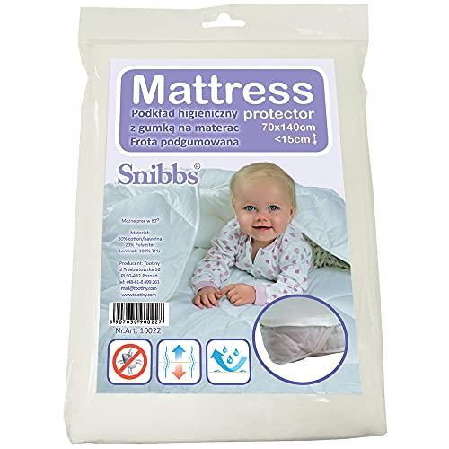 Snibbs Protège-matelas imperméable 70 x 140 cm avec sangles de coin, membrane en TPU respirant, utilisation pour lit de bébé