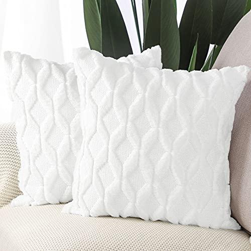 Madizz 2 pcs Doux Peluche Laine Courte Velours Décoratif Housses de Coussin Luxe Style pour canapé Chambre Blanc 35 x 35 cm