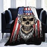 Totenkopf-Uncle Sam, USA-Flagge, Tuvalu-Emblem, Fleece-Überwurf, Decke, flauschig warme Überwürfe für Winterbettwäsche, Couch & Plüsch, Hauseinweihung, Dekoration, Geschenkidee, 152,4 x 127 cm