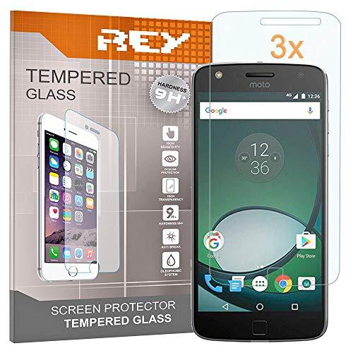 REY Pack 3X Panzerglas Schutzfolie für Motorola Moto Z Play, Bildschirmschutzfolie 9H+ Festigkeit, Anti-Kratzen, Anti-Öl, Anti-Bläschen
