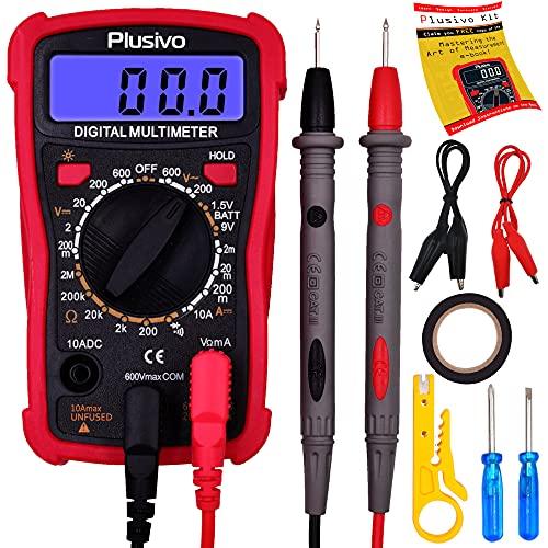 Multimetro digitale - Voltmetro e amperometro, tester per misurare resistenza, tensione CA/CC di batterie per auto, diodi, con test di continuità e sonde di misurazione - Inclusi utili accessori