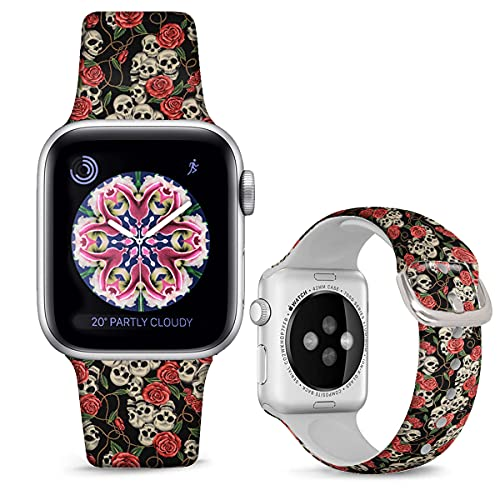 DOO UC Halloween Floral Bands Compatible with iWatch 38mm/42mm/40mm/44mm, Halloween Rose Skull Silicone Fadeless Pattern Printed Replacement Bands for iWatch Series 6/5/4/3/2/1, M/L for Women/Men