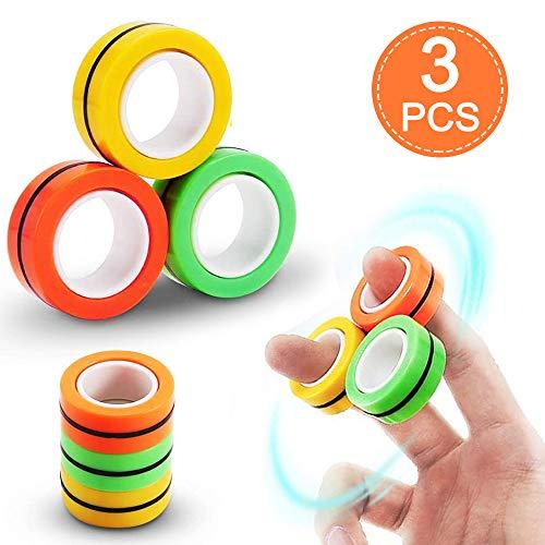 buntes Fingerspielzeug für Erwachsene und Kinder,Magnetringe Anti-Stress-Fingerring,Magnetischer Armbandring Spielzeug,Dekompressionsspielzeug,magische Ring-Requisiten,Magnetic Ring(3 Stück)