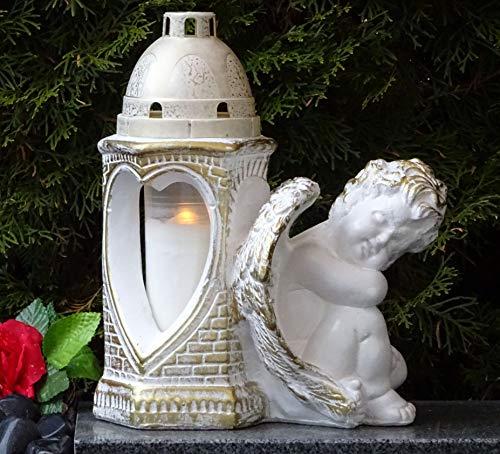 ♥ Grablaterne Grablampe Engel Schutzengel Herz mit Grabkerze 30,0cm Grabschmuck Grablicht Grablampe Grableuchte Grabkerze Laterne Grabdekoration