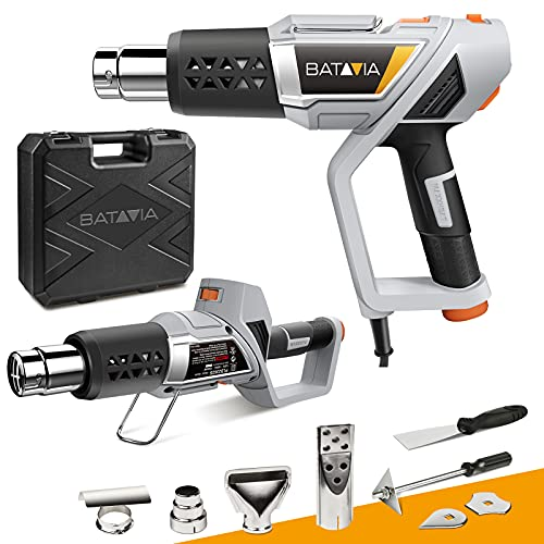 Heat Gun 3-Temp Settings, BATAVIA 2-in-1 Heavy Duty Hot Air Gun Kit 1500W 122℉-1112℉, Overheat Protection with 4 Nozzles for Crafts Shrinking PVC, Bending Pipes, Stripping Paint, Loosen Rusted Nuts
