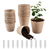 Cosweet 50 Pcs Peat Pots, Plant Seedling Saplings & Herb Seed Starters Kit, Vegetable Tomato Seed Germination Trays, 100% Eco-Friendly and Biodegradable with Bonus 10 Plant Markers