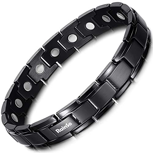 RainSo Magnettherapie-Armband für Herren, mattes Titanstahl, Schmerzlinderung bei Arthritis, mit Geschenkbox (schwarz matt)