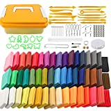 Holicolor Polymer Clay 50 Colors Oven Bake Clay Modeling Clay with Sculpting Tools, Roller, Jewelry Making Accessories, Art Clay for Kids and Beginners