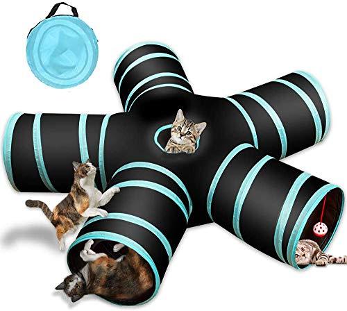 YAMI Tunnel Giocattolo per Gatti a 5 Vie, Tubo Pieghevole per Giochi per Animali Domestici con Campana e Custodia per Gatti, Cuccioli, Conigli, porcellini d'India, Uso Interno ed Esterno