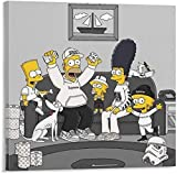 Bart Simpson Canvas Painting Anime Oil Print Poster Wall Art Picture for Living Room Home Decor (8x8 inch,Framed)