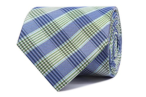 Sologemelos - Cravate Tartan - Bleu, Vert 100% soie naturelle - Hommes - Taille Unique - Confection artesanale Made In Italy
