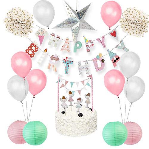 Pompon Girlande Banner19 Stück Baby Girl Geburtstagsfeier Dekoration Set Ballerina Cake Topper Alles Gute Zum Geburtstag Banner Papier Star Laternen Luftballons