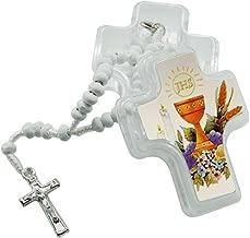 12 Pcs First Holy Communion Wood Rosaries in Cross Shape Box/Recuerdos para Primera Comunion Niña Niño