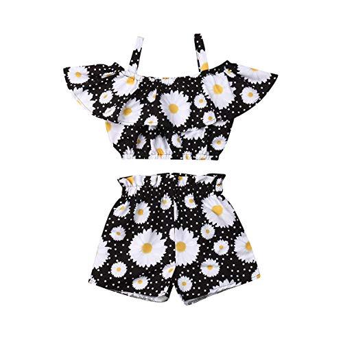 2 Stücke Mädchen Kleidung Set Baby Mädchen Outfit Set Spaghetti Bügel Blumen Rüsche Blumenmuster Tank Tops+Shorts Kurze Hosen (SchwarzesGänseblümchen, 5-6T)