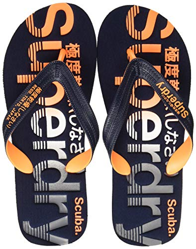 Superdry Scuba Perforated Flip Flop, Herren Zehentrenner, Mehrfarbig (Black/Optic White/Bright Blue W2y), 42-43 EU (8-9 UK)